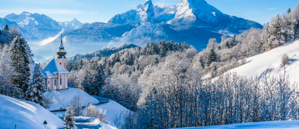 Snowy Mountains Of The Bavarian Alps