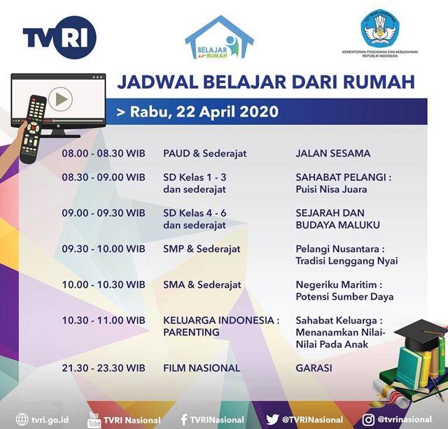 Jadwal Belajar TVRI Hari Ini Rabu 22 April 2020-IGtvrinasional