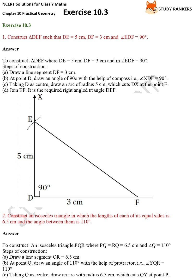NCERT Solutions for Class 7 Maths Ch 10 Practical Geometry Exercise 10.3 1