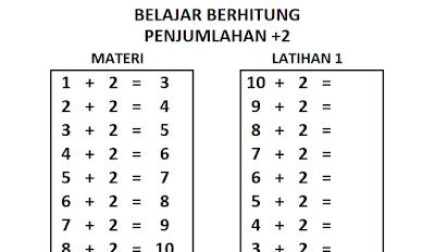 Belajar Berhitung Penjumlahan Bilangan +2