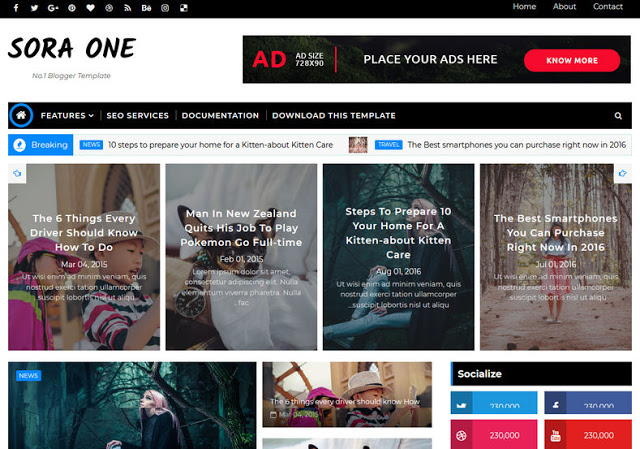 Sora One mobile friendly blogger template