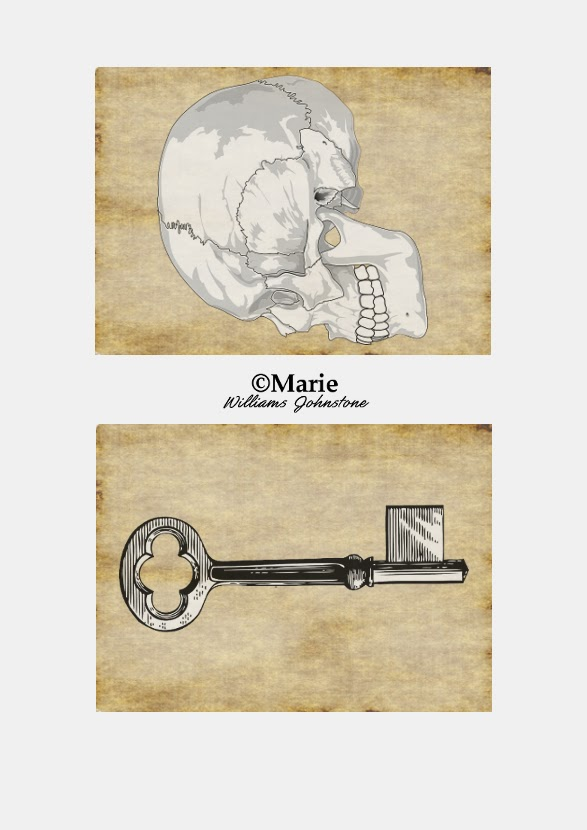 Black and White Skull and Key Designs over Sepia Cream Backing