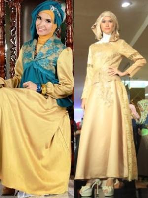 30 Desain Dress Wanita Kombinasi Brokat Satin Dan Sifon
