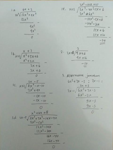 No 1- 3 Soal dan Jawaban Ayo Berlatih 3.4 Aljabar Matematika kelas 7 Halaman 231-232