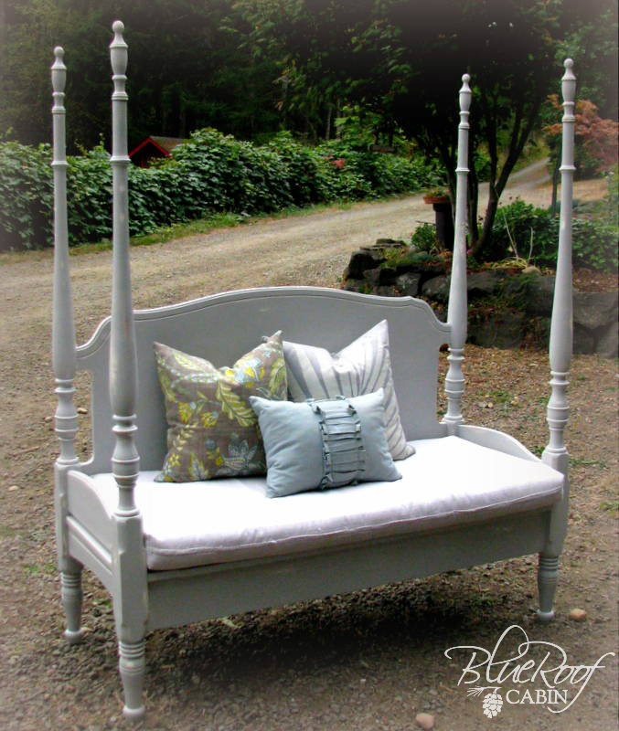 Blue Roof Cabin Four Poster Headboard Bench