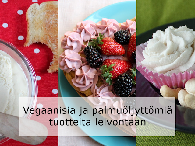 Kuvassa on yhdistettynä kolme eri kuvaa vieretysten. Vasemmalla näkyy itsetehtyä vegevoita lasikulhossa sekä paahtoleipä, josta on haukattu pala. Keskellä on vaaleanpunaista itsetehtyä cashewkermavaahtoa. Oikeassa reunassa on valkoista cashewkermavaahtoa pursotettuna paperiseen muffinssivuokaan, jonka vieressä on kokonaisia cashewpähkinöitä.