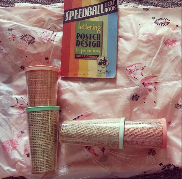 vintage 50s kitschy raffiaware tumblers, vintage pink fish bathroom shower curtain