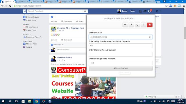 Invite all for event in facebook click ok