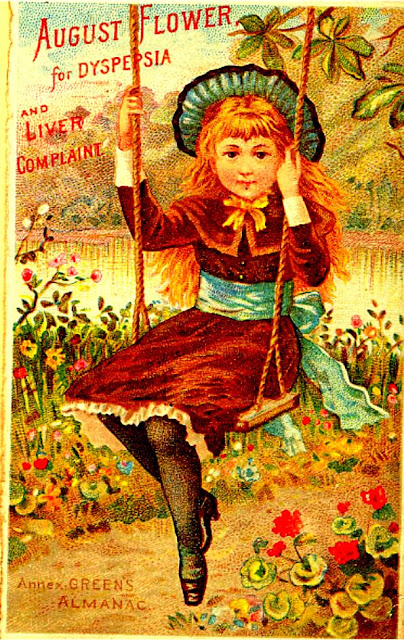 "19th century trade card advertising ""August Flower"" for Dyspepsia. Young woman with golden hair wearing reddish brown dress with blue sash and hat on swing."