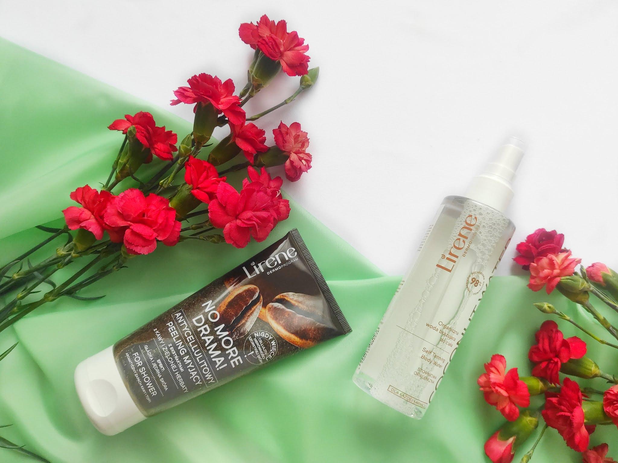 Kosmetyki Lirene: peeling myjący No More Drama i woda brązująca Coconut Water
