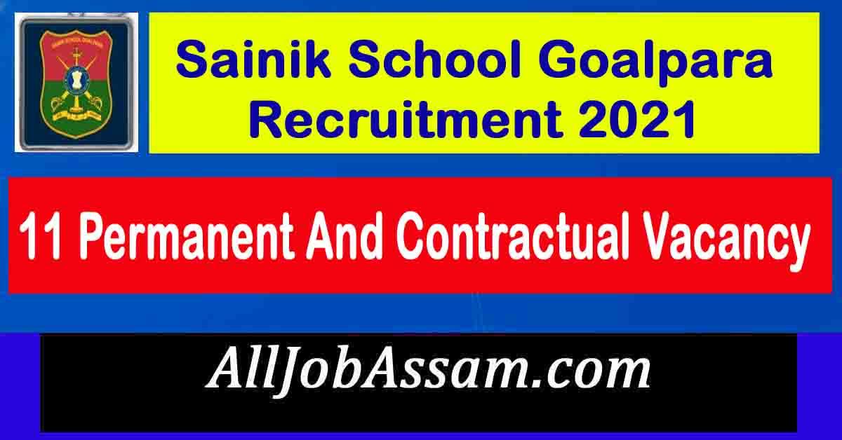 Sainik School Goalpara Recruitment 2021