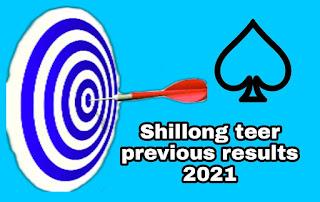 Shillong teer previous results 2021