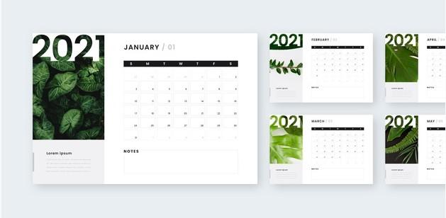Template Kalender Meja 2021 Desain Modern Siap Edit | zotutorial.com