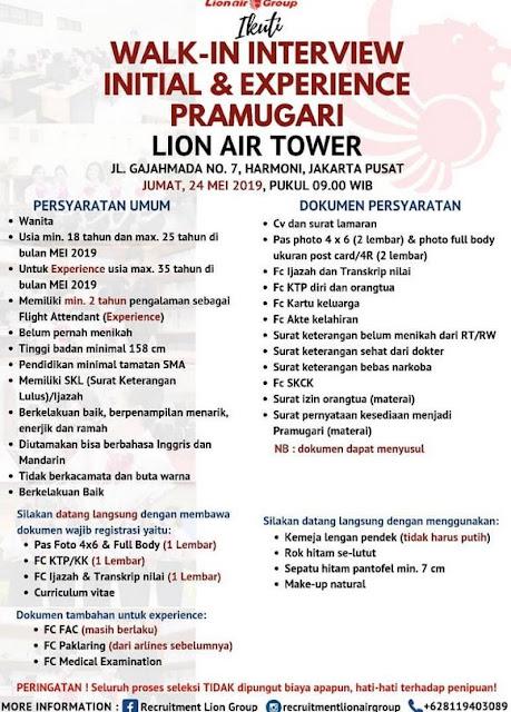 Lowongan Kerja Lion Air Group Mei 2019 (UPDATE)