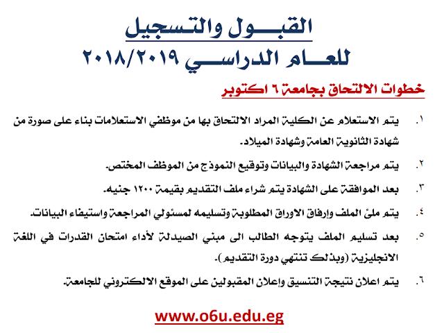 مصاريف التقديم بجامعة 6 أكتوبر 2019-2018 ورابط التقديم والتسجيل والاوراق المطلوبة بالتفصيل