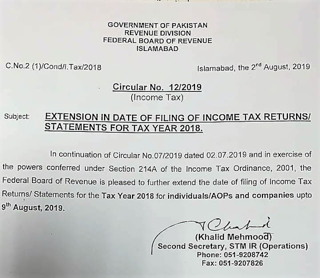 EXTENSION IN DATE FOR FILING OF INCOME TAX RETURNS / STATEMENTS FOR TAX