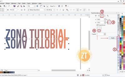 Effek Mirror Tulisan menggunakan CorelDraw X7
