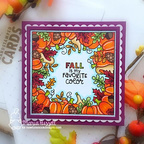 Fall is my Favorite Color Card by Maria Russell | Fall Fringe Stamp Set and Frames Squared Die Set by Newton's Nook Designs #newtonsnook #handmade