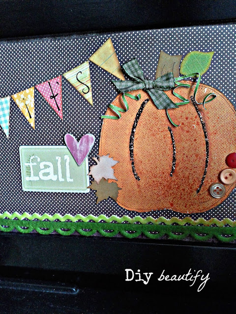 Make a fall picture using paper, buttons, ribbons & other trims
