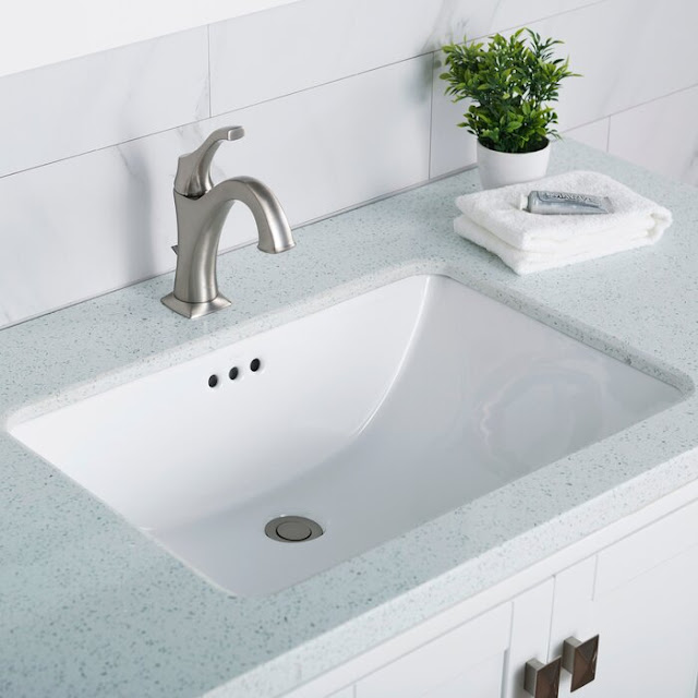 KCU-251 Elavo Ceramic Ceramic Rectangular Undermount Bathroom Sink with Overflow