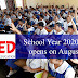School Year 2020-2021 opens on August 24
