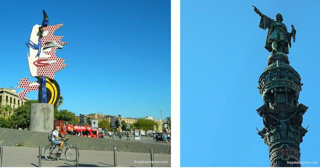 El Cap de Barcelona, obra de Roy Lichtenstein, e o Monumento a Cristóvão Colombo