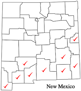 Map of New Mexico showing the locations where Phymatotrichum has been found