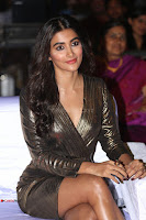 Pooja Hegde looks glamarous in deep neck sleevless short tight golden gown at Duvvada Jagannadham thank you meet function 040.JPG
