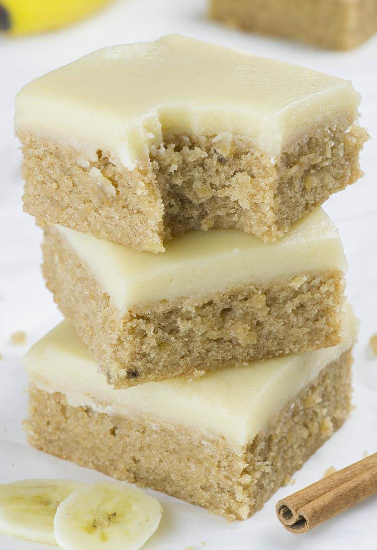 Banana Bread Blondies - If you love banana bread, but blondies as well, you must try this easy Banana Bread Blondies recipe. With sweet browned butter frosting they are over the top!