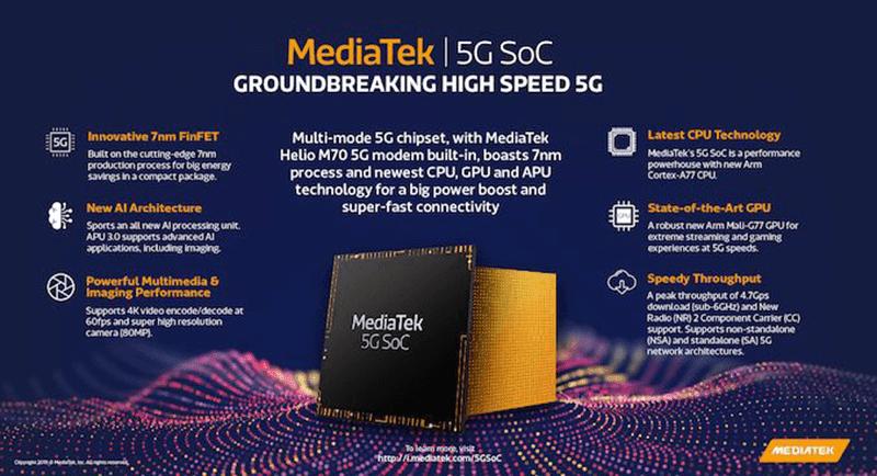 MediaTek 5G SoC with Cortex-A77 cores and Mali-G77 GPU announced!