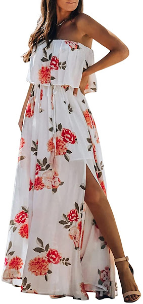 Quality Floral Strapless Maxi Dresses