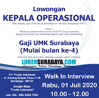Walk In Interview at CV. Trusty Indonesia Juni 2020