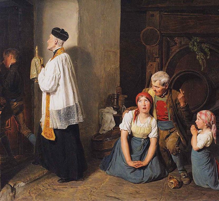 Os santos óleos para um doente grave, Ferdinand Georg Waldmüller (1793 – 1865)