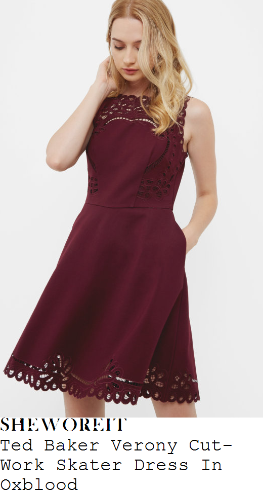 holly-willoughby-ted-baker-verony-oxblood-berry-purple-sleeveless-sheer-cut-work-lace-trim-detail-scalloped-edge-high-waisted-fit-and-flare-skater-dress