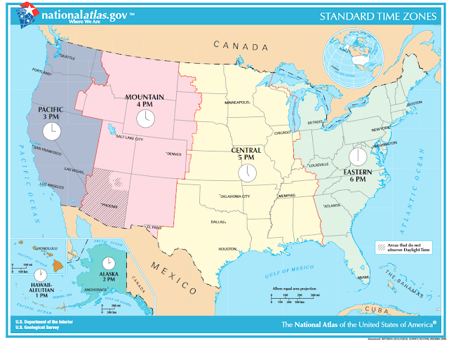 United States Standard Time Zones National Atlas map