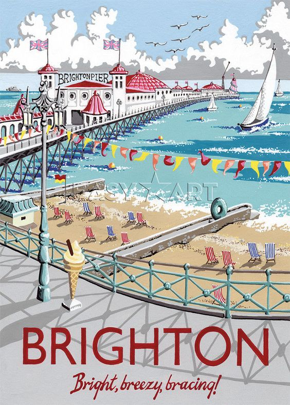 easy art vintage brighton postcard