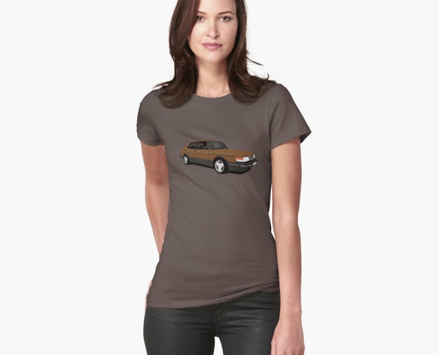 Saab 900 Turbo Aero brown t-shirt illustration