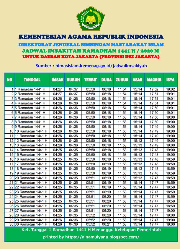 Jadwal Imsakiyah Ramadhan 2020 (1441 H) | INFO PUBLIK