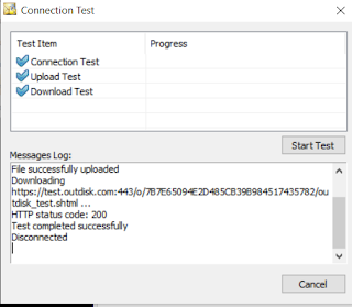 "Screen image shows a message log reporting ""Test completed successfully."""