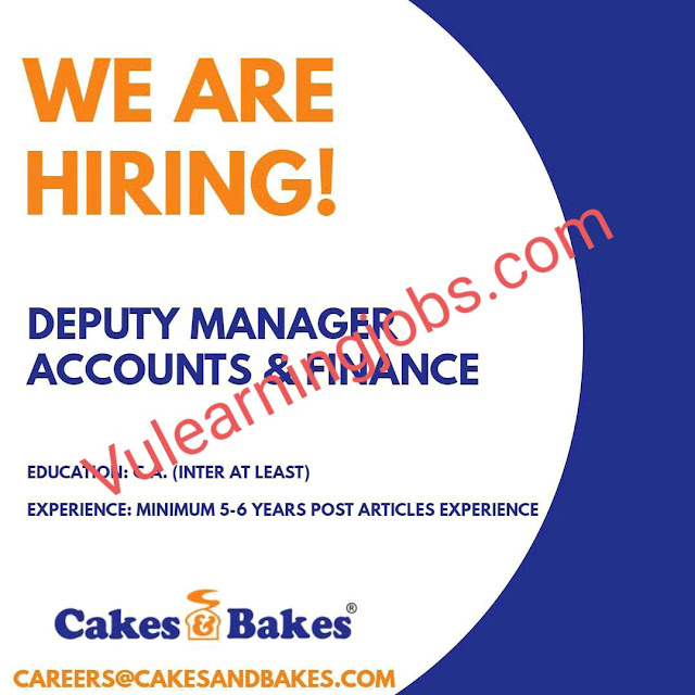 Cakes & Bakes Jobs 2020 In Pakistan For Deputy Manager Accounts & Finance Latest