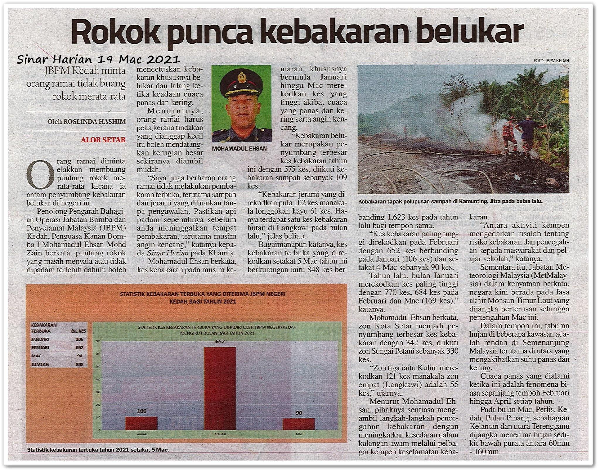 Rokok punca kebakaran belukar - Keratan akhbar Sinar Harian 19 Mac 2021