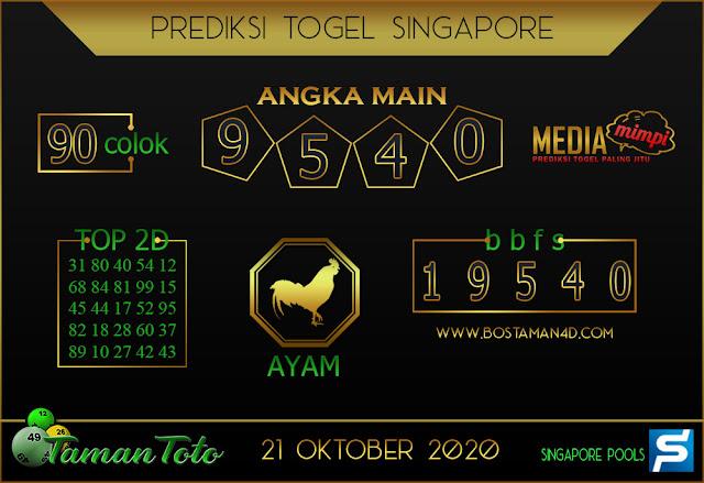 Prediksi Togel SINGAPORE TAMAN TOTO 21 OKTOBER 2020