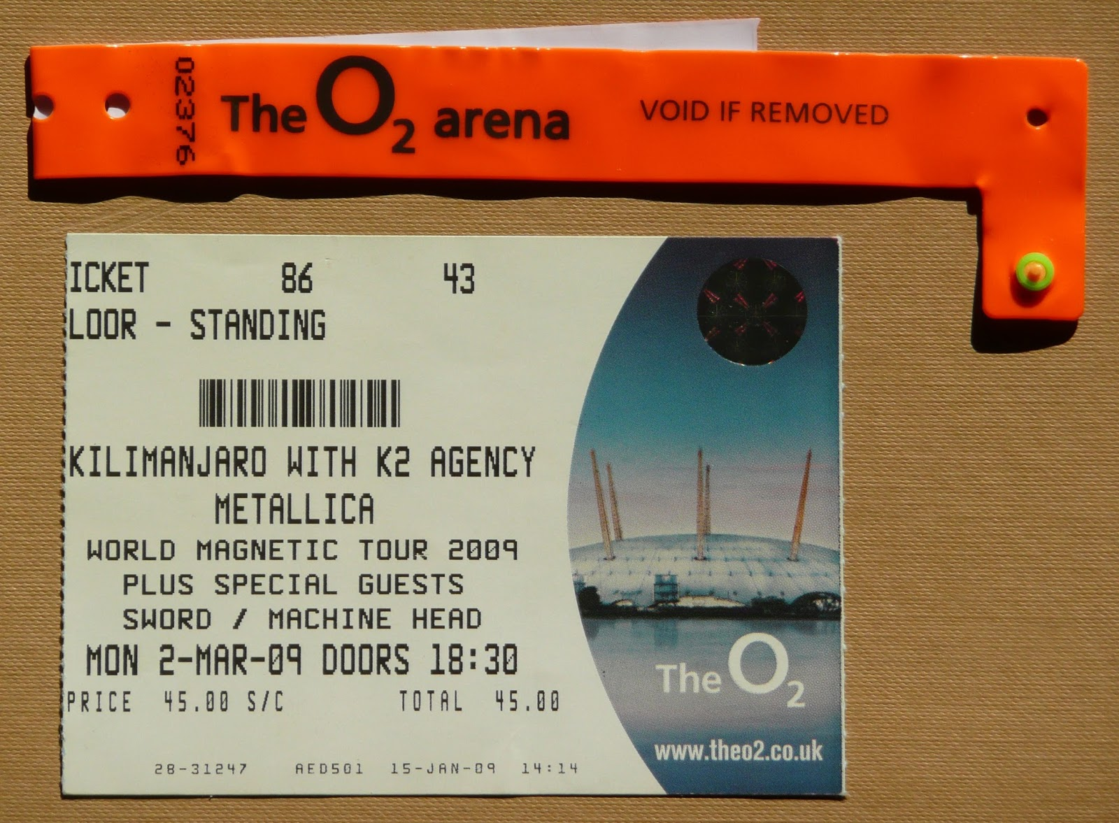 Metallica Tickets Collection: Death Magnetic UK 2009 Tour