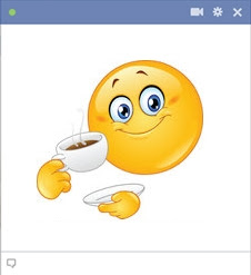 emoticon Facebook minum kopi