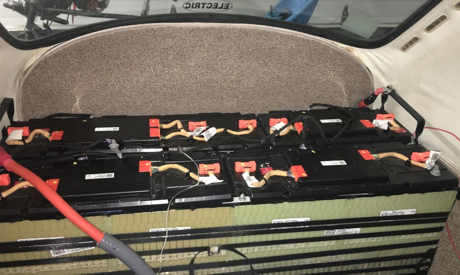 Electric Go Kart Re Using Chevy Volt Oem Bms For Ev Conversion Wiring Harness The Entire Battery Pack Reconfigured Into Two Rows Fit Area Behind Rear Seats Of Vw Original Units And Is