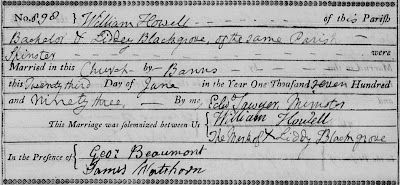 """St. Pancras Old Church (London, England), """"The Register of Marriages 1787-1793,"""" marriage of William Howell and Liddy Blackgrove, 23 Jun 1793; FHL microfilm 598,178."""