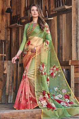 Organza Tissue Printed Saree In Green And Pink Colour