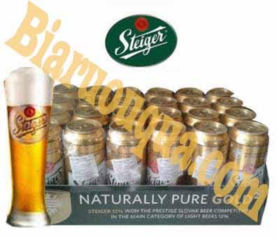 Thùng bia Tiệp Steiger vàng 24 lon