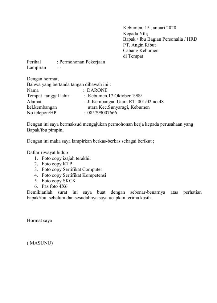 Contoh Surat Lamaran Kerja Simple 2020 Nusagates