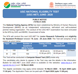 NTA National Eligibility Test UGC NET Assistant Professors and JRF Exam Notification June 2020-New Exam Syllabus